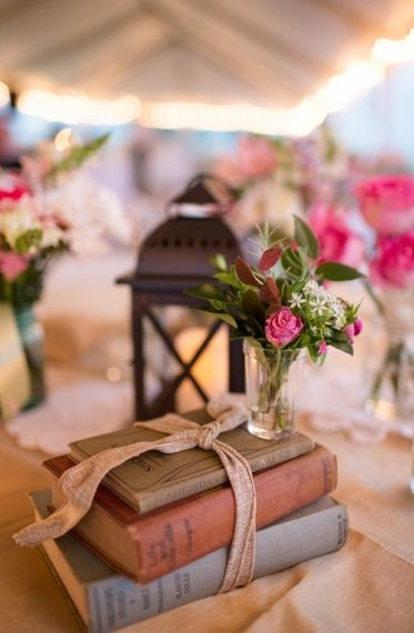 This bundle of old books makes a romantic statement for a wedding or anniversary event.  You can find books like these at Safari Thrift in Aurora CO.