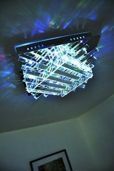 Etagere Supplementaire Ikea ~   LED moderne Changeur de couleur Lustre Lampe suspension chromée 62401