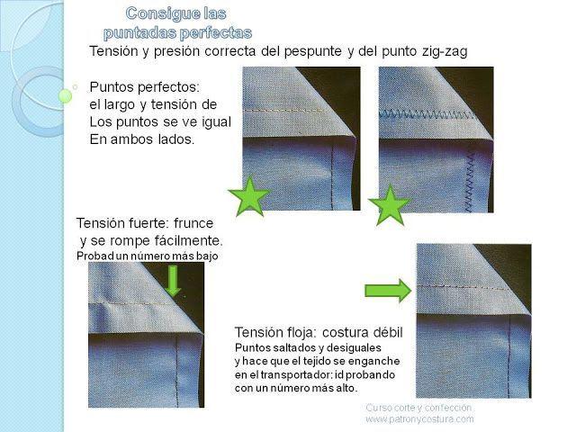 Patrón y costura te enseña cómo conseguir el punto perfecto.                             Importante para conseguir un punto perfecto usar una aguja con buena punta y de med