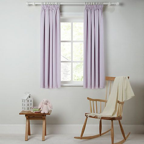 Buy little home at John Lewis Triangles & Trees Ticking Stripe Blackout Lined Pencil Pleat Curtains Online at johnlewis.com