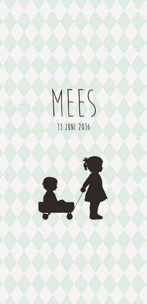 Geboortekaartje Mees - voorkant - Pimpelpluis - https://www.facebook.com/pages/Pimpelpluis/188675421305550?ref=hl (# jongen - eendje - silhouet - lief -  origineel)