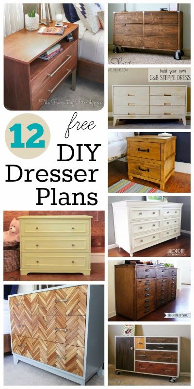 12 (Free) DIY Dresser Plans. Build your own, solid wood dresser and customize it to meet your needs.