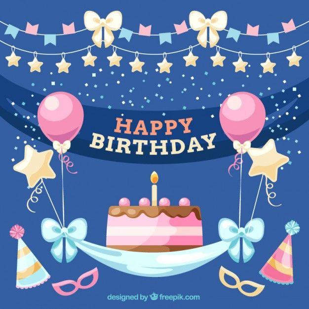happy birthday / joyeux anniversaire / ballon rose / étoile or / gateaux / noeud bleu / banderole