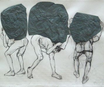 Mito de Sísifo, Carlos Alonso  Técnica: Lápiz sobre papel  Categoría: Collage