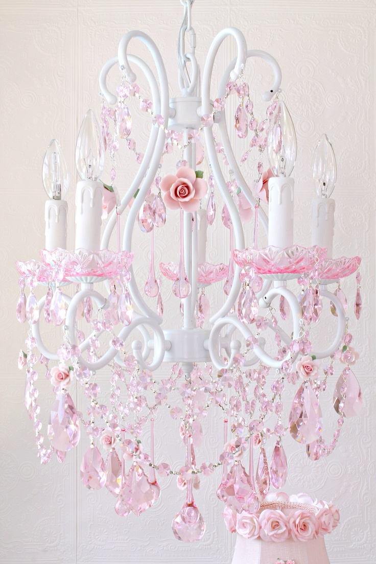 38 best pink chandeliers images on pinterest chandeliers pink pink chandelier arubaitofo Choice Image