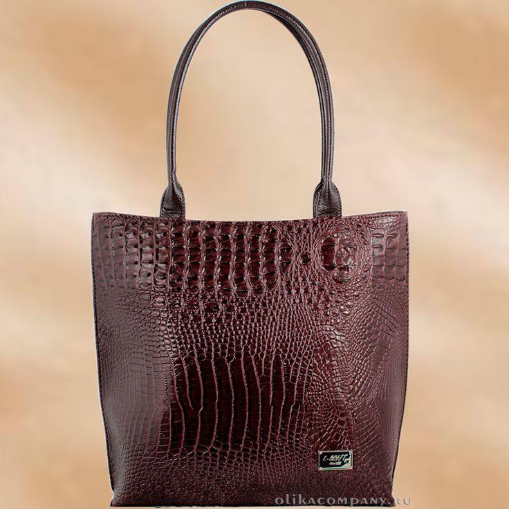 Женская сумка 1197-3 под крокодила темно-коричневая Размеры 32*15*33 см, помещается папка А4, две удлиненные ручки. Цена 1900 руб