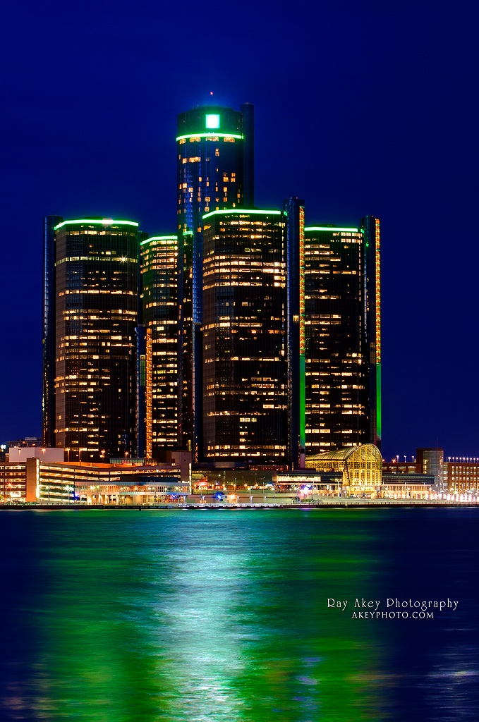 A view of the spectacular lights on the Renaissance Center in Detroit Michigan as viewed from Windsor, Ontario on a cold spring evening.