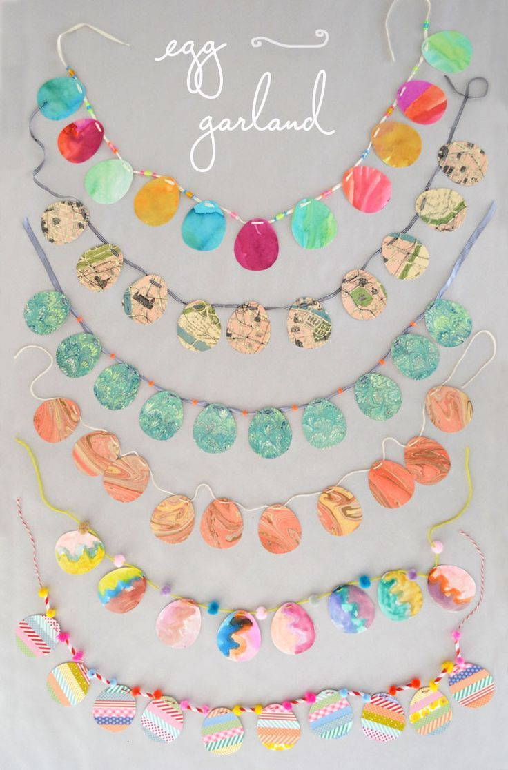 Easter paper craft ideas - 6 Ways To Make Easy Egg Garland For Kids