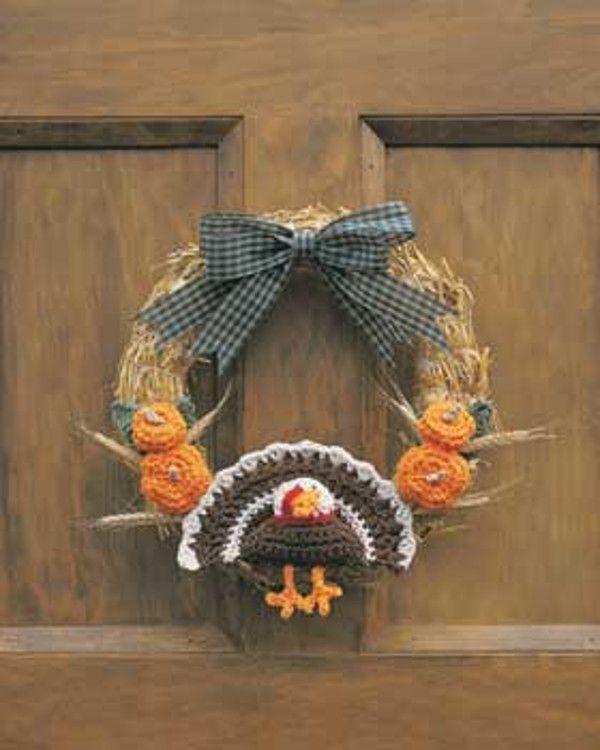 Crocheted Thanksgiving Turkey Wreath