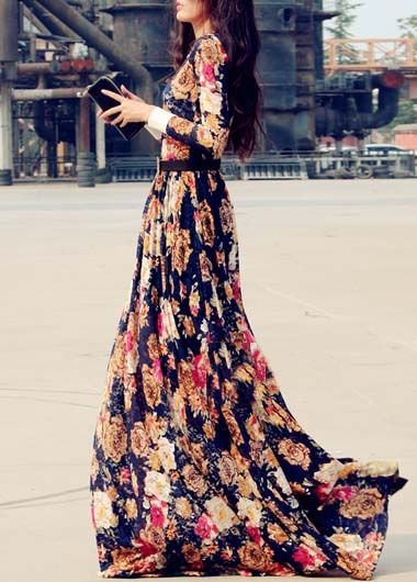 Vintage Flower Print Round Neck Long Sleeve Dress