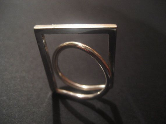 Square Circle Ring, Sterling Silver, Geometric, Modern, Minimalist Ring