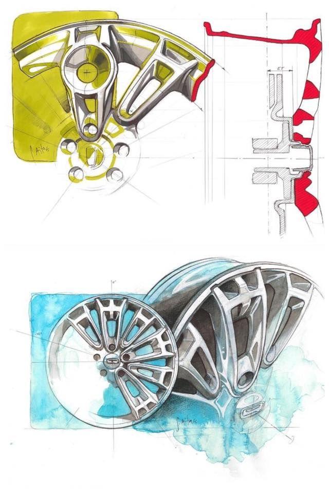 Great ideation marker/watercolor wheel design sketches for Qoros 2 PHEV by Salvatore Aita, Qoros Design Team Munich