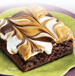 Get a load of these! Gooey Peanut Butter S'more Brownies are ooey and gooey and delicious. Messy, but delicious.