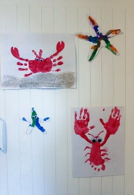 Ocean theme. Love the hand and footprint ideas for babies who have trouble doing art.