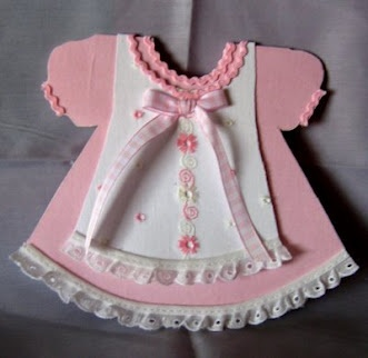 pinafore card for baby girl  alternative to the Onesie card. Adorable use of cotton lace and rickrack and gingham