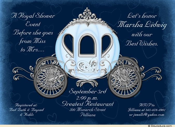 Deep Blue & Silver-Gray Shower Invitation