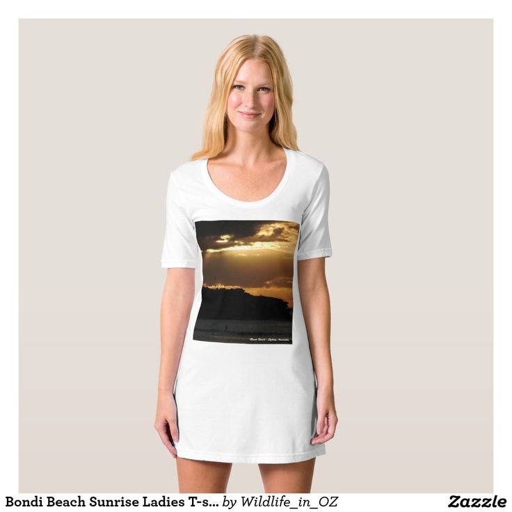 Bondi Beach Sunrise Ladies T-shirt Dress / Nightie - Bondi Beach Australiana - Click on photo to view item then click on item to see how to purchase that item. #bondibeach #bondi #iconicbeach #sydney #australia #surf #sunrise #sand #surf