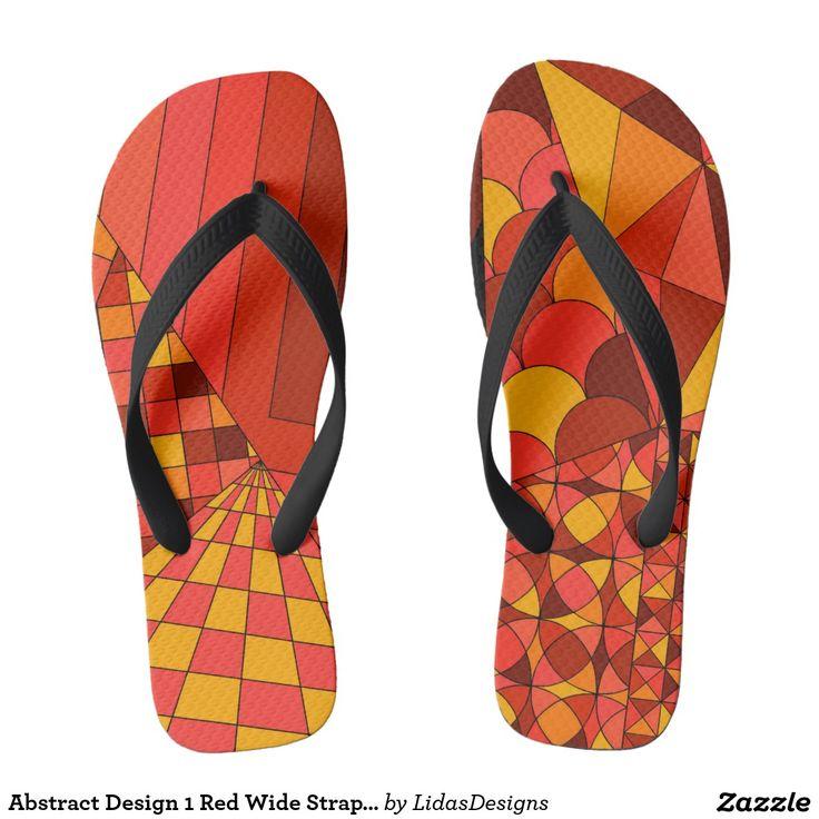 Abstract Design 1 Red Wide Straps Flip Flops #cool #abstract #colourful #colour #art #geometric #illustration #unique #custom #original #creative #design #fashion #flipflop