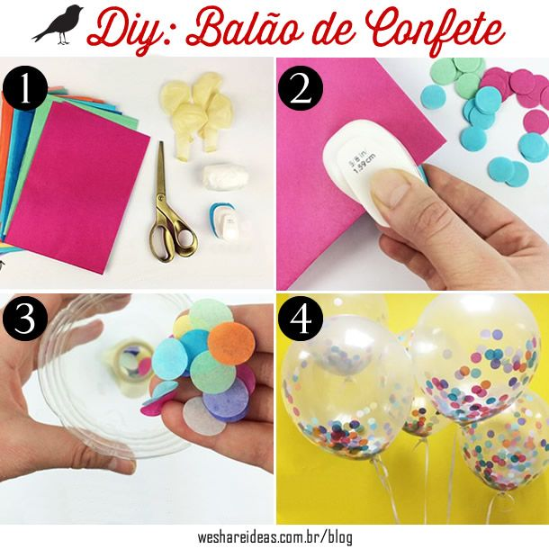 ideia criativa de como fazer um balão com confetes e papeis cortados para o…
