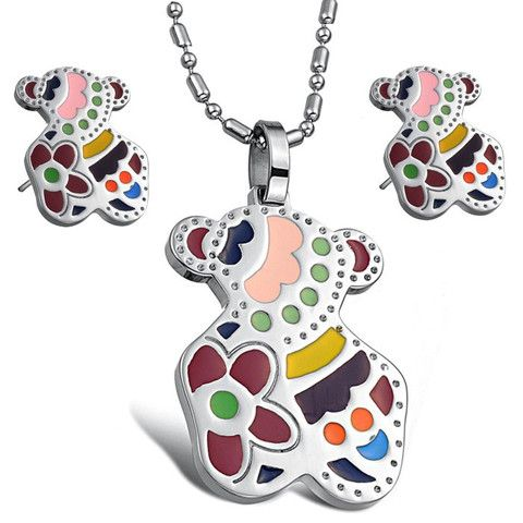 Jewelry sets little bear pendant with chain necklace and stud Earrings colorful