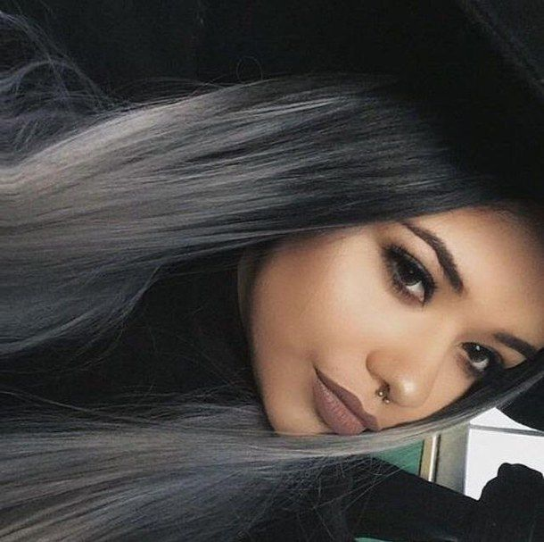 black hair, brown lips, contour, dark, eyebrows, eyes, eyeshadow, fashion, flawless, girl, grey hair, hair, highlight, lips, love, luxury, make-up, makeup, piercing, straight hair, tan, cool hair colour, naturel make-up