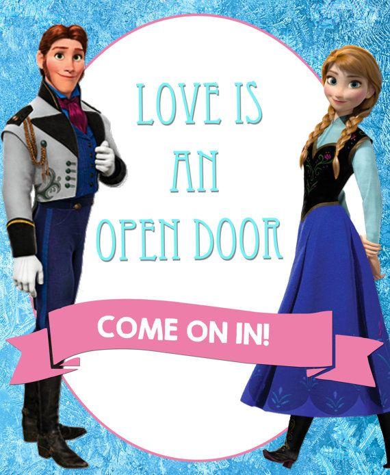 """Frozen's """"Love is an Open Door"""" Decorative Sign"""
