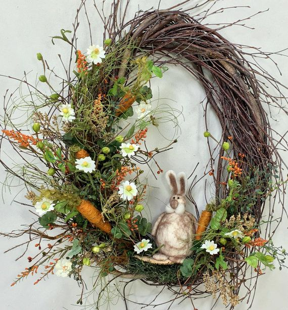 Spring Wreath, Easter Wreath, Bunny Wreath, Birch Wreath, Spring Floral, Spring Décor, Easter Décor, Bunny, Woodland Wreath, Garden Wreath