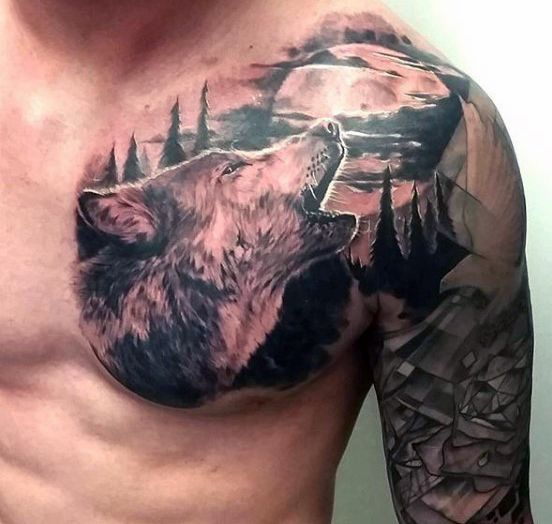 Black Wolf Tattoo For Guys