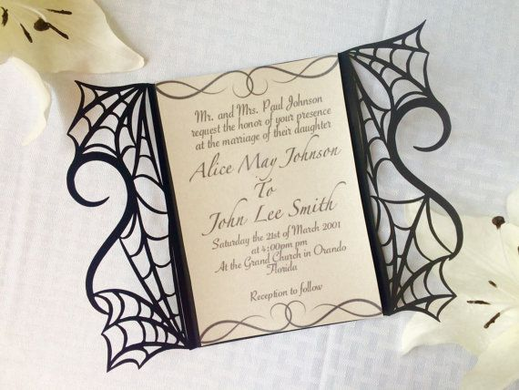 beautiful design for halloween wedding! gothic spider web halloween wedding by ShimmeringCeremony on Etsy
