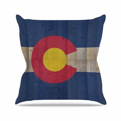 "East Urban Home Flag of Colorado Bruce Stanfield Throw Pillow Size: 16"" H x 16"" W x 4"" D"