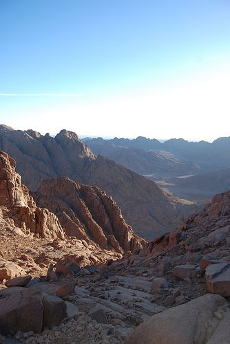 Mt Sinai after Sunrise Egypt. God brought His people HERE and expected them to have faith in Him. That's how much trust we're supposed to have in God. Fortunately the talent for that comes from Him too.