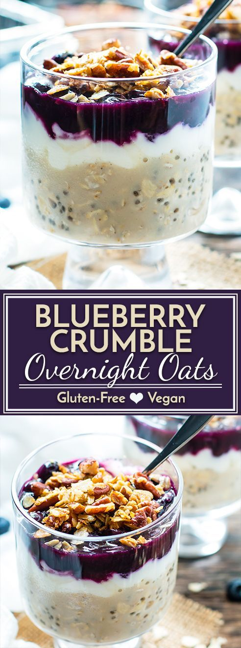 Wake up to a jar full of these healthy blueberry overnight oats loaded with good-for-you chia seeds, yogurt, and fresh blueberries and then topped with a crunchy pecan crumble!