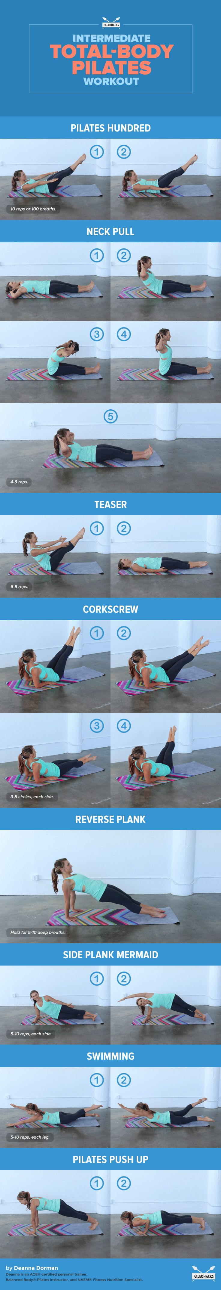 This Intermediate Pilates workout is perfect for those of you who have mastered the basic Pilates exercises and are ready for a challenge. These moves will strengthen your body from every angle — strengthening your core, increasing your flexibility and improving your posture. Plus, you can do this workout anywhere, from the gym to your living room! For the full article, visit us here: http://paleo.co/IMpilates