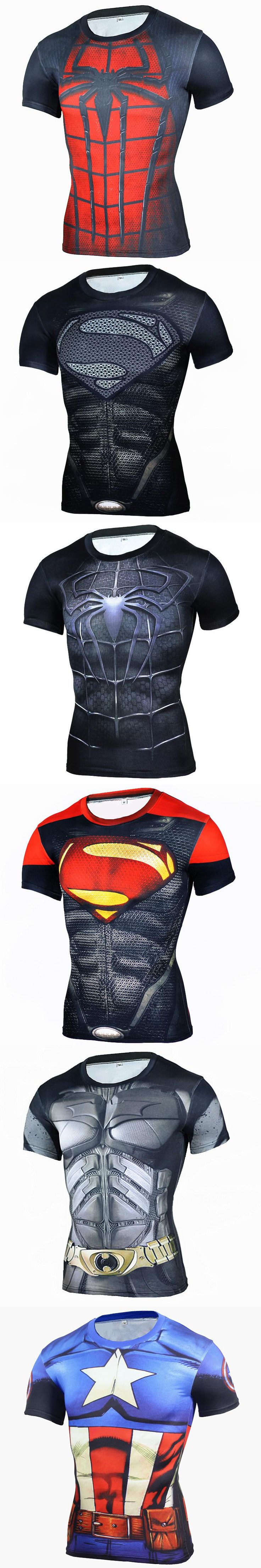 Brand Clothing 2016 Superhero Compression Shirt 3D Captain America Punisher T Shirt Bodybuilding Crossfit t-shirt