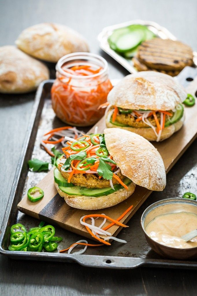 Lemongrass Tofu Banh Mi Burger with Sriracha Aioli #vegan