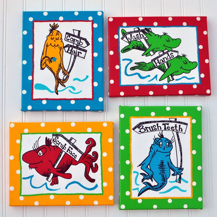 One Fish Two Fish Dr Seuss Inspired 4 Piece 8x10 Wrapped Canvas Bathroom Set .