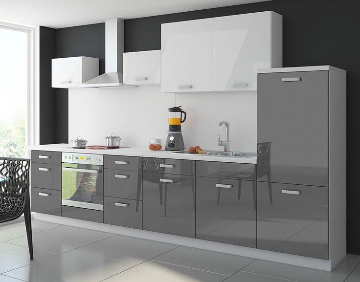 Küche Color 340 cm Küchenzeile Küchenblock Einbauküche in - küche hochglanz grau