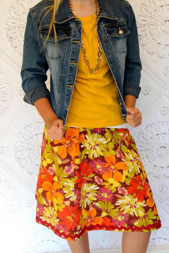 Vintage Inspired Mustard Yellow Orange Red and by Gogreenstyle