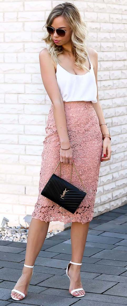 1bd39a05c Outfit with blush pink lace pencil skirt, white cami top, white single  strap heels and my beloved YSL bag. The perfect, elegant Style for Spring  and Summer!