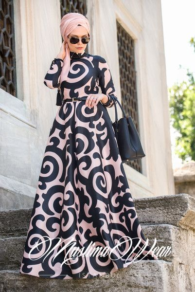 Muslima Wear Black and Poudre Dress – Muslima Wear Design and Styling