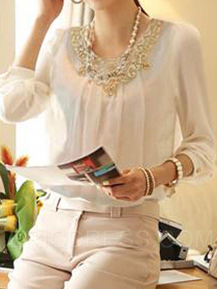 cuello de encaje elegante de manga larga blusa de gasa ...