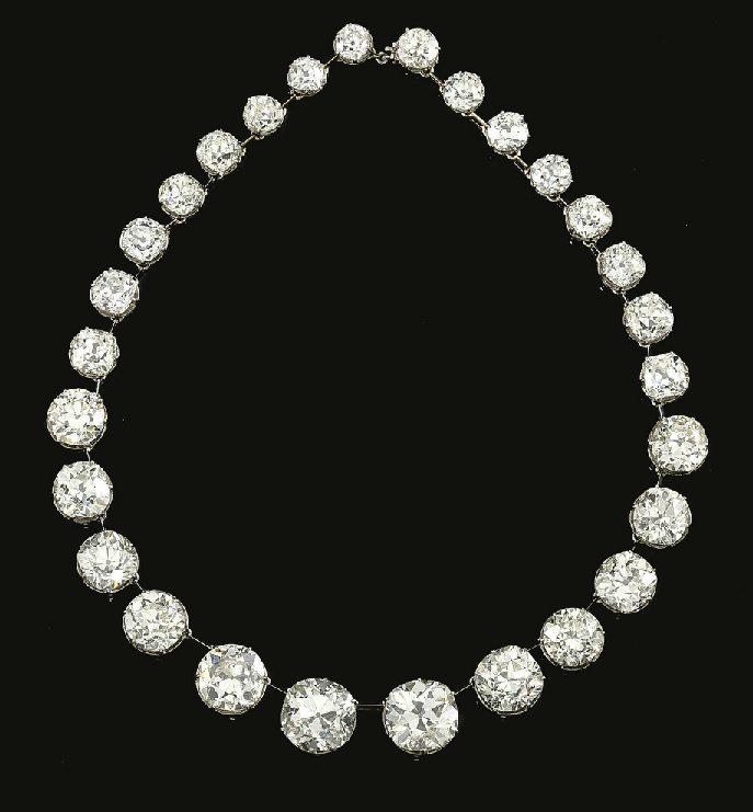 Designed  as  a  graduated  rivière  of  twenty-eight  circular-cut  diamonds  weighing  161.29  carats  in  total,  the  six  largest  diamonds  to  the  front  weighing  respectively  7.98,  8.00,  9.81,  11.38,  15.11  and  16.62  carats,  length  approximately  410mm,  unsigned,  fitting  deficient,  later  altered  to  current  design
