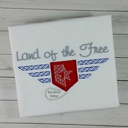 FREE! Land of the Free Applique - 3 Sizes! | What's New | Machine Embroidery Designs | SWAKembroidery.com Beau Mitchell Boutique
