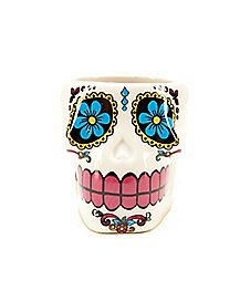 White Sugar Skull Shot Glass - Add some extra festiveness to your Day of the Dead or Halloween celebration with this White Sugar Skull Shot Glass! Create a Day of the Dead & Cider board then enter to win a party pack worth over $500: https://offerpop.com/campaign/774106