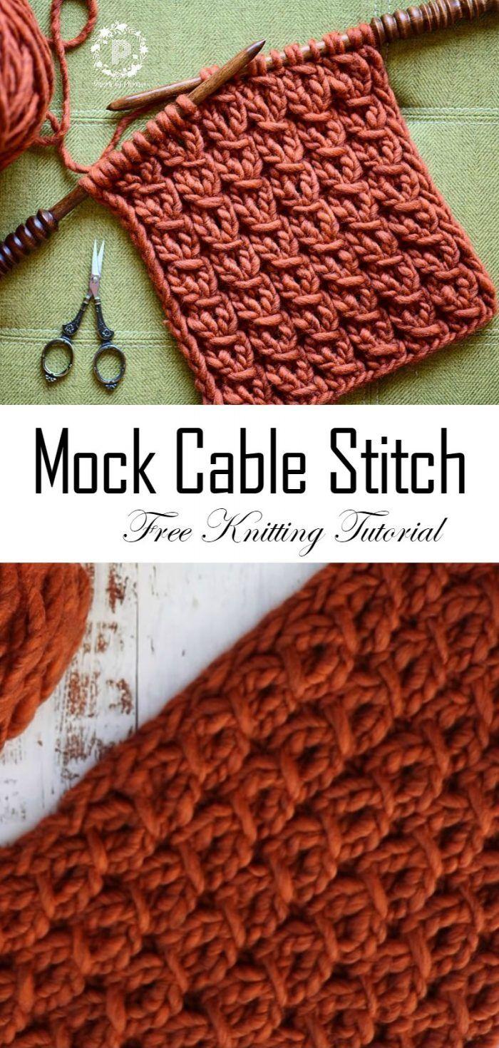 Como fazer malha envoltório Mock Cable Stitch