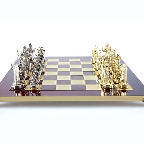 Handcrafted Metallic Chess - Chess Set - Greek Mythology (Medium) - Gold/Silver