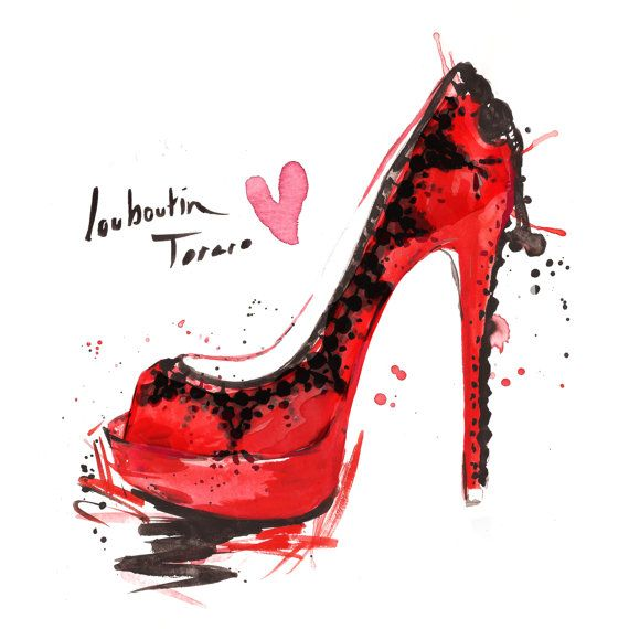 Red Louboutin Torero Watercolour by MichaelJIllustration on Etsy