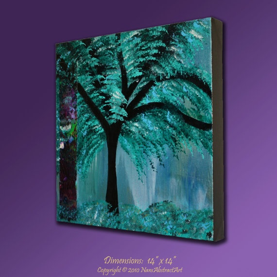 Abstract ORIGINAL PAINTING Art Weeping Willow Tree By ArtByNanB, $89.00