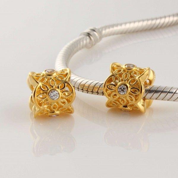 b00bc5264 Salvador Pandora Gold White Diamond Pattern Charm GP072A-retired pandora  jewelry - Pandora charms black 14k ...