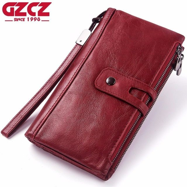 0bc85851140c GZCZ Women Wallets Genuine Leather High Quality Long Design Phone ...